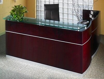 Mayline Wood Veneer Napoli L-shape Reception Desk W Frosted Glass Counter
