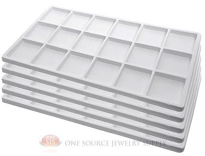 5 White Insert Tray Liners W 18 Compartments Drawer Organizer Jewelry Displays