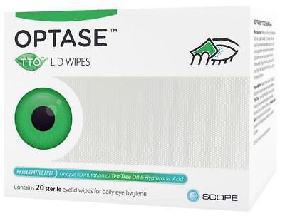 Optase TTO (Tea Tree Oil) Eye Lid Wipes - Preservative Free (x20)
