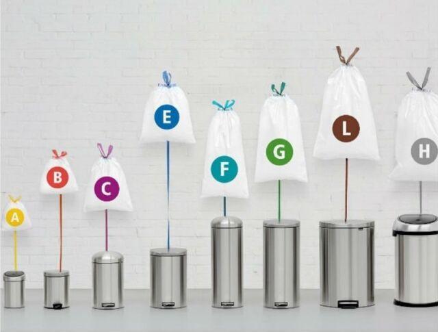 Brabantia Bin Liner Bin /Rubbish Bags 3L 5L 10L 12L 20L 30L 45L & 50L Available