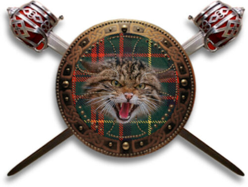 Iron-on Scottish clan patch: Highland wildcat, crossed swords and targe