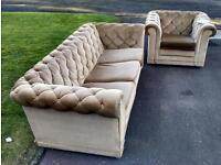 Chesterfield armchair and sofa, in need of tlc