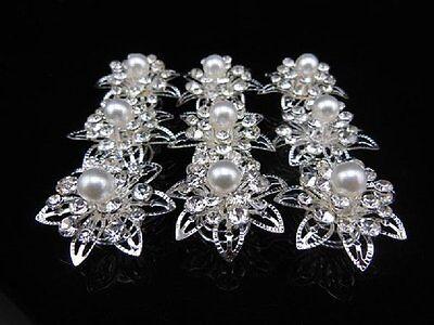 Set 10 Curlies Haarspiralen Strass Hochzeit Haarnadeln Braut Perle Blume Stern
