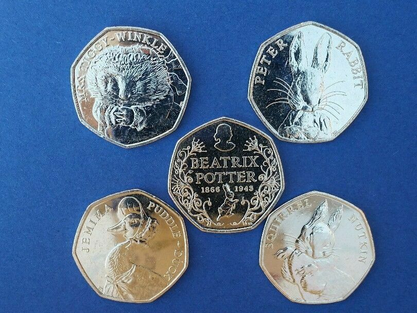Beatrix Potter 50 p JEMIMA PUDDLEDUCK Peter Rabbit,Mrs Tiggy Winkle.anniversary.