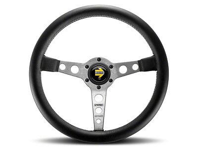 - Momo Prototipo 350mm Tuning Racing Steering Wheel Black Leather Silver Spoke