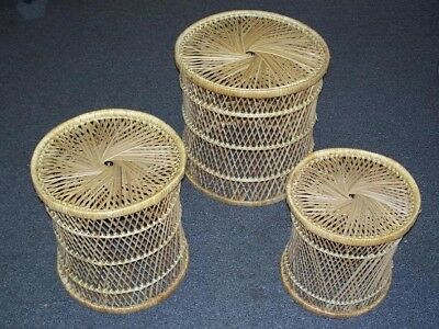 Wicker End Table Finish (Wicker Buri Stacking Nesting Round Side End Table Set of 3 Natural)
