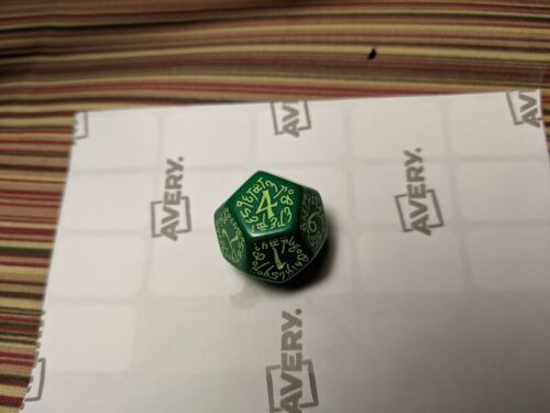 Q-Workshop Elvish Die D12 green w light green prototype? test? dice