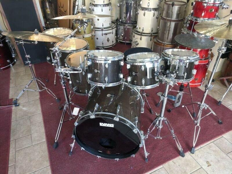 Legend Drums 8-Piece Charcoal Gray Gloss Drum Kit 1996 RARE