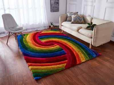 MULTI COLOURED BRIGHT RAINBOW SILKY SHINY THICK PRISM 3D TEXTURED SHAGGY RUG - Prism Multi Teppich