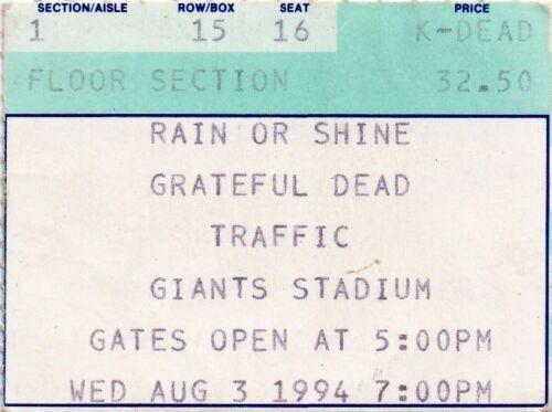 GRATEFUL DEAD TICKET STUB   08-03-1994  GIANTS STADIUM WITH TRAFFIC