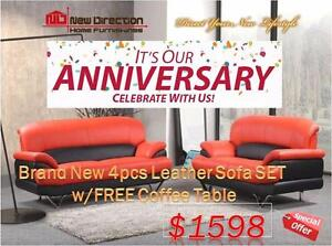Inventory Blow Out Sale-Brand New 4pcs Europa Sofa Set W/Free Matching Coffee Table@New Direction Home Furnishings