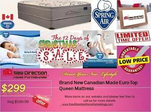 Inventory Blow Out Sale-Brand New Canadian-made Spring Air Queen Mattress W/Euro Top@New Direction Home Furnishings