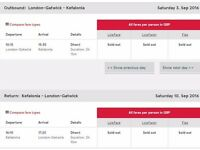 Gatwick - Kefalonia - Gatwick 3rd - 10th September 2016 - 1 seat for sale - unable to travel