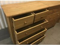 Solid oak chest of drawers and matching bedside cabinets excellent quality, fully solid oak