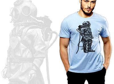 Vintage retro t-shirt, underwater, steam punk, diving suit, Halloween, zombie