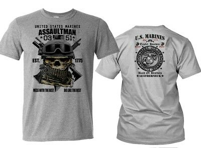 USMC T-Shirt US Marines Semper Fidelis Leatherneck Combat Arms Devil Dogs tee (Arms Doggie T-shirt)