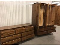 Solid wood Warren Evans three door wardrobe with matching dresser/chest, great condition