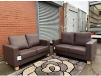 Leather sofas brand new x2 free delivery 🚚 sofa suite couch furniture