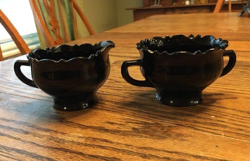 L.E. Smith Mt. Pleasant Double Shield Black Glass Open Sugar Bowl/Creamer