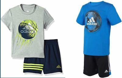 Adidas Boys Gray or Blue 2-piece basketball/ soccer shorts set 2T - 7 Sizes {&}