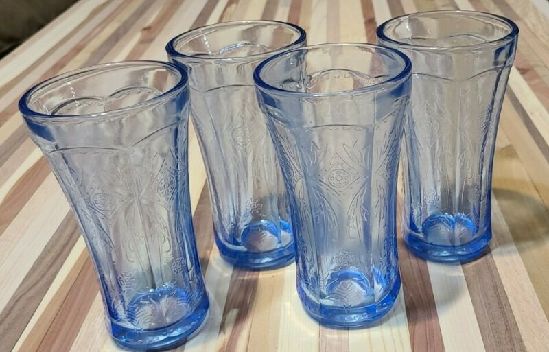 """Set Of 4! Vintage Indiana Glass Blue Madrid Recollection 6 ¼"""" Iced Tea Tumblers"""