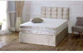 Crushed Velvet Brand New Bed + Memory Foam Sprung Mattress + Headboard