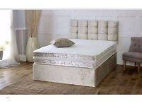 New Crushed Velvet Divan Bed +sprung Memory Foam Mattress and Headboard
