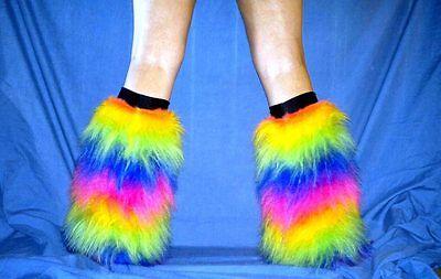 UV RAINBOW fluffies fluffy leg warmers boots covers gators hed kandi punk furry - Rainbow Furry Boots