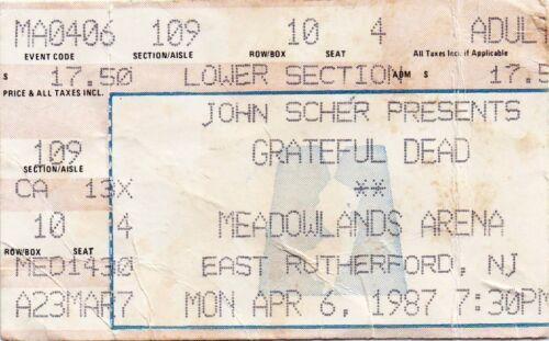 GRATEFUL DEAD TICKET STUB   04-06-1987   MEADOWLANDS ARENA