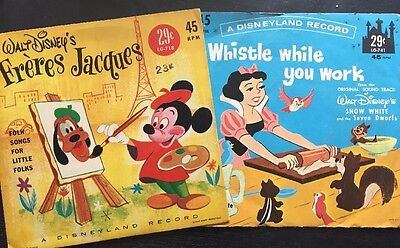 2 WALT DISNEY'S FRERES JACQUES SNOW WHITE RECORD 45 RPM , 1961 NICE!