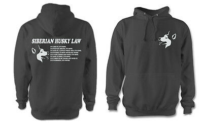 FUNNY SIBERIAN HUSKY LAW HOODY SLED DOG DOGS  HUSKIES PAW SIBES PERSONALISED