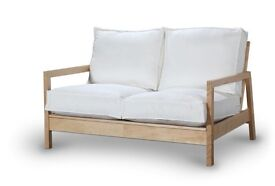 WHITE AND WOODEN IKEA SOFA
