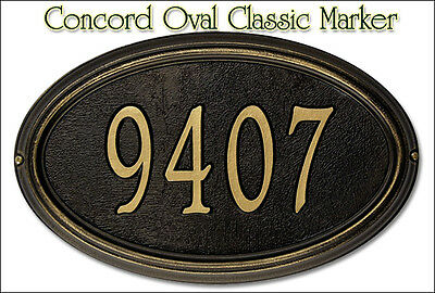 Whitehall Concord Oval LARGE Classic Address Personalized Plaque Sign 2 Mounts Concord Oval Address Plaque