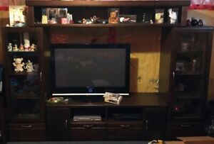 Entertainment Centre Wall Unit (4 Piece Solid Wood)