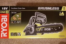 New RYOBI ONE+ RCS18X3050 CORDLESS 18V LITHIUM-ION BRUSHLESS CHAINSAW, 5 Ah BATTERY & CHARGER,