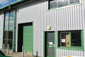 Modern warehouse unit with mezzanine offices, 1,300 sq ft / 120 sq m - near Exeter Airport