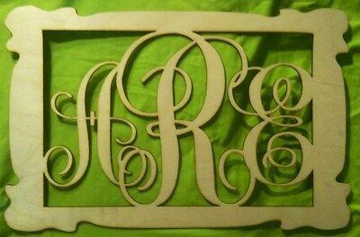 """Sculptures 18"""" Wooden Vine Monogram Unfinished"""
