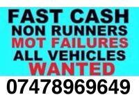 Cars wanted, cash paid, mot failures, lay up, scrap, running ect