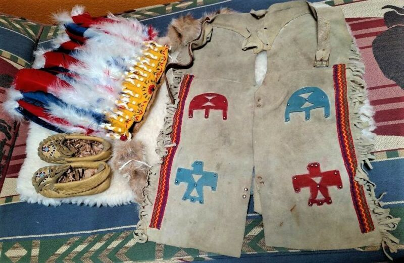 Native American Indian Child Outfit Leather Chaps Pow Wow Waist 20-23