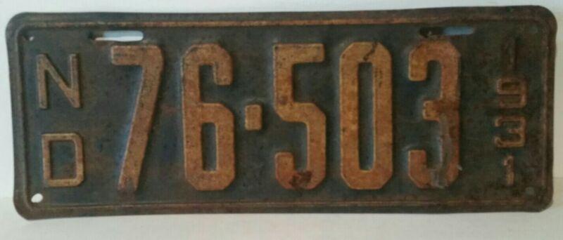 1931 North Dakota License Plate 76-503