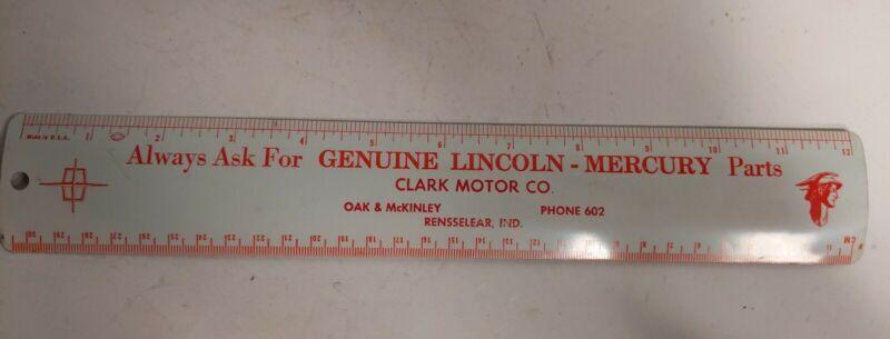 Vintage Metal Lincoln Mercury Clark Motor Company 12 Inch Ruler
