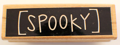 Studio G Happy Halloween Spooky Words Writing Wooden Rubber