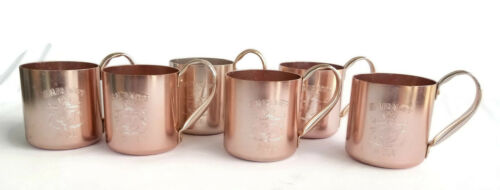 Smirnoff Mugs Cups Moscow Mule Set of 6 Vintage Copper Tone Aluminum Hong Kong