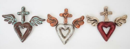 Assorted 3 Pack-Winged Clay Hearts with Cross-Handmade-Wall-Mexican Folk Art
