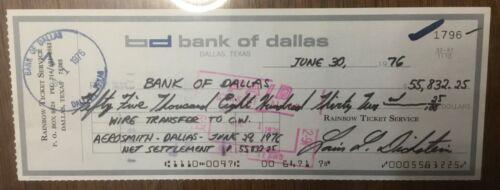 Aerosmith - Cashed Concert Check - Dallas June 29 1976 Concert - $55000
