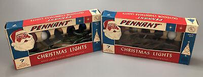 2 Vintage Pennant 7 Light String Sets Outdoor Christmas Decor C9 Original Box AA