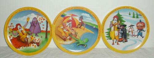 "Vintage Mcdonalds 10"" Plates 1977 Seasons Ronald Grimace Hamburlar Lot of 3"