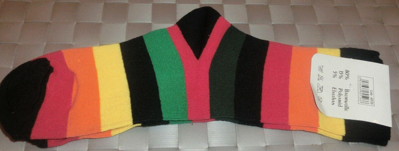 1 Paar bunt gestreifte Socken mit schwarzer Spitze, Ferse, Bündchen 35/38 NEU