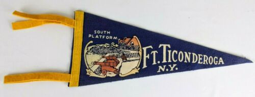 Fort Ticonderoga South Platform Lake Champlain New York Vintage Felt Pennant