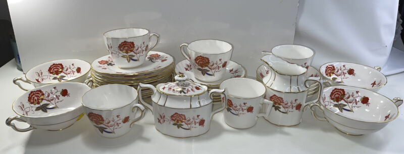 Vintage Royal Crown Derby BALI 33 Piece Set A.1100 English Bone China